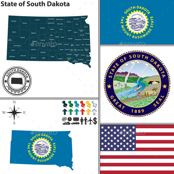 Map of State South Dakota USA