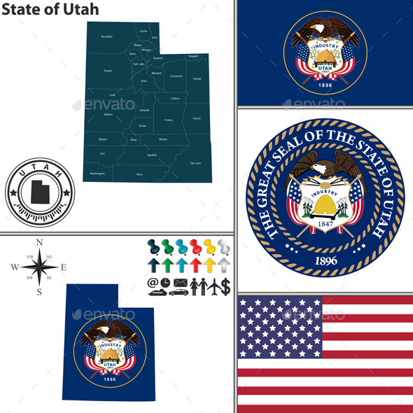 GraphicRiver Map of State Utah USA 10060600