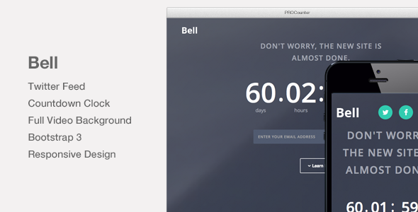 ThemeForest Bell Video Background Countdown Landing Page 8989042
