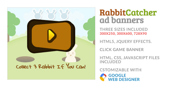 CodeCanyon Catch The Rabbit Click Game GWD HTML5 Ad Banner 10061682