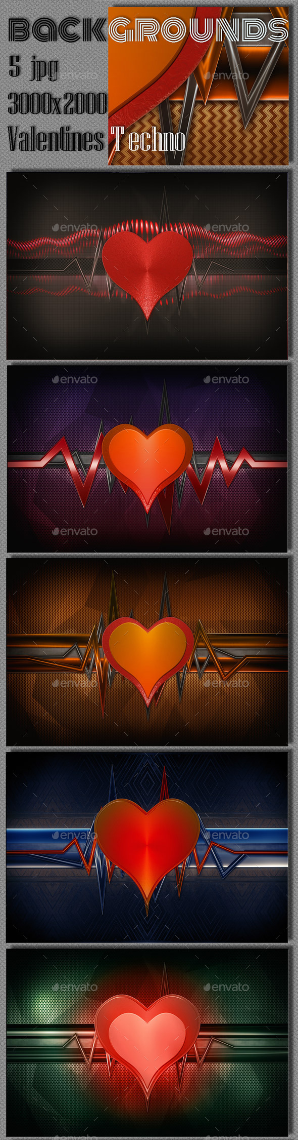 GraphicRiver Valentine Techno Backgrounds 10062152
