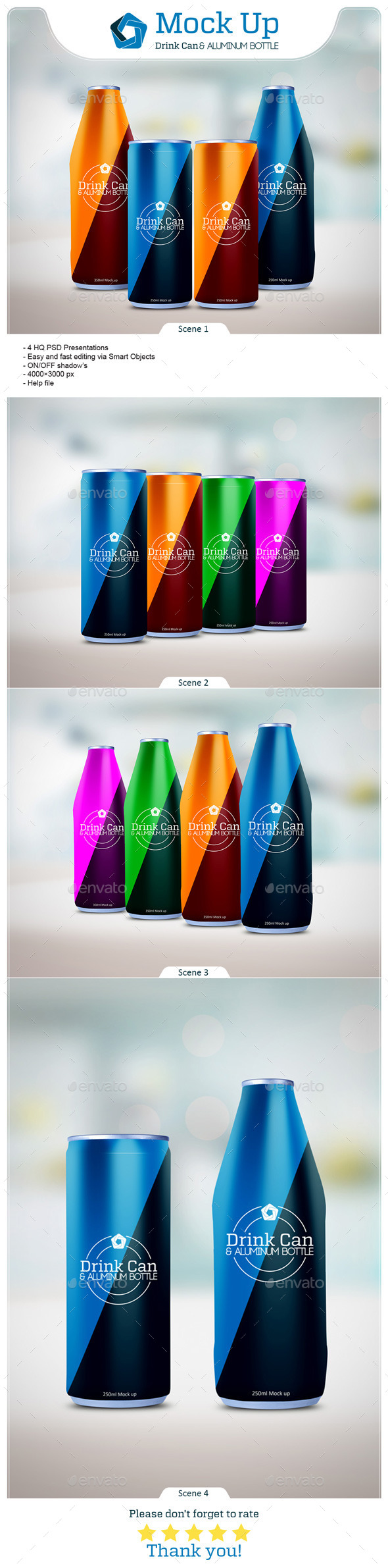 GraphicRiver Drink Can & Aluminum Bottle Mockup 10038981