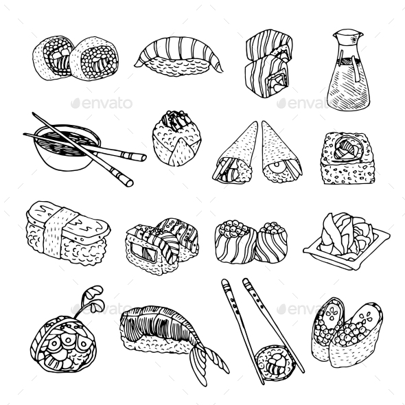 GraphicRiver Sushi Icons 10062316