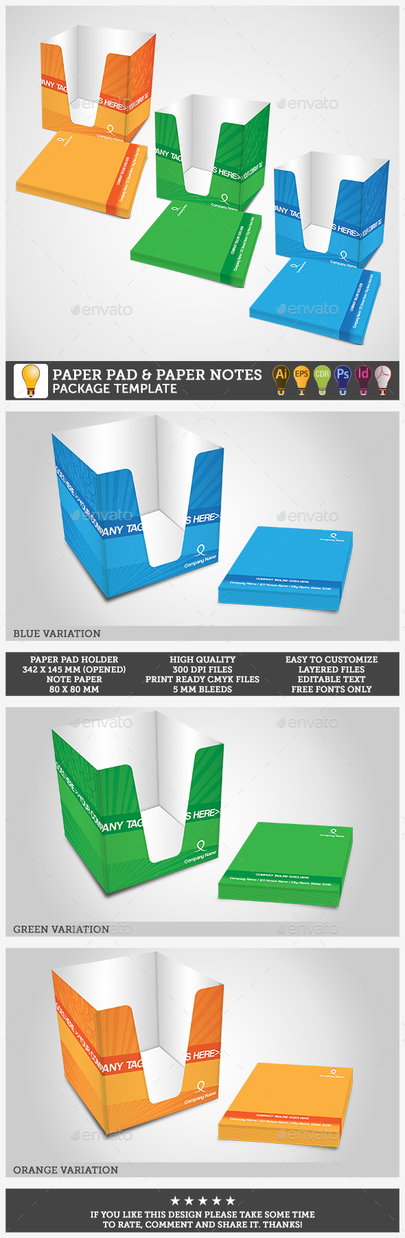 Paper Pad Holder & Paper Cutouts Package - Packaging Print Templates
