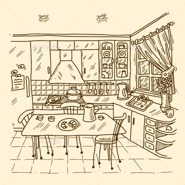 GraphicRiver Kitchen Interior Sketch 10062364
