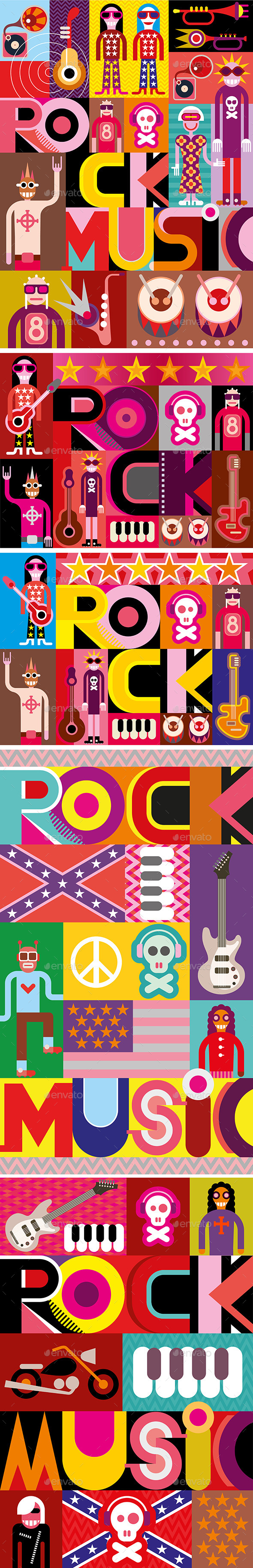 GraphicRiver Five Rock Music Posters 10062656