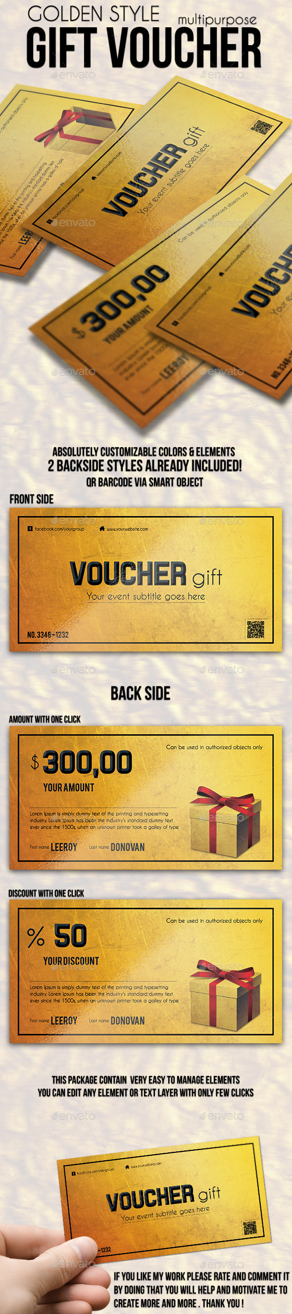 GraphicRiver Multipurpose Golden Gift Voucher 10062856