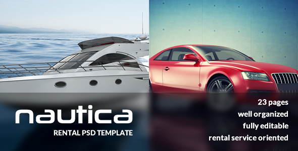 Nautica is a fresh and modern PSD template, created especially for rental services. It fits just about any kind of rental products, such as cars, boats, yachts