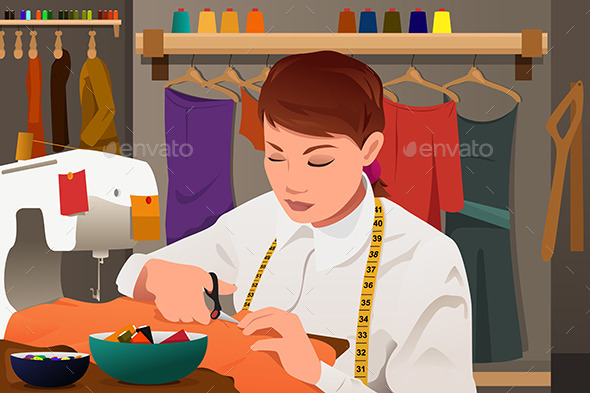 GraphicRiver Tailor Working with Sewing Machine 10063385