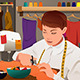 Tailor Working with Sewing Machine - GraphicRiver Item for Sale