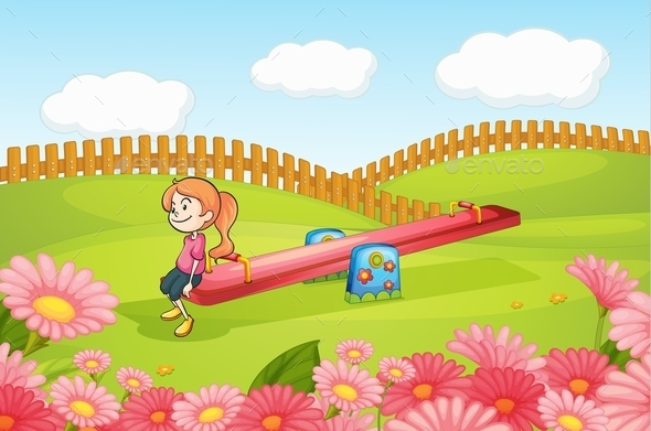 GraphicRiver Girl Playing on a Seesaw 10063581