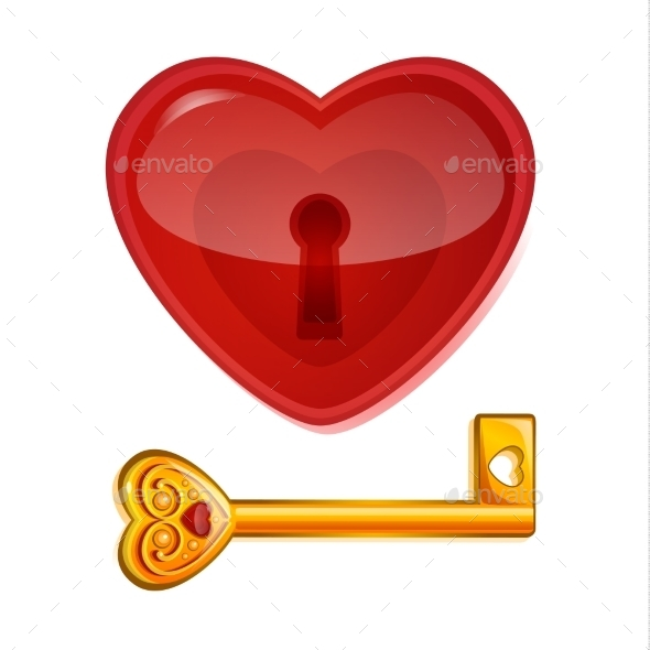GraphicRiver Red Lock in the Shape of a Heart 10063696