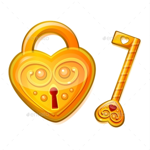 Golden Lock in the Shape of a Heart