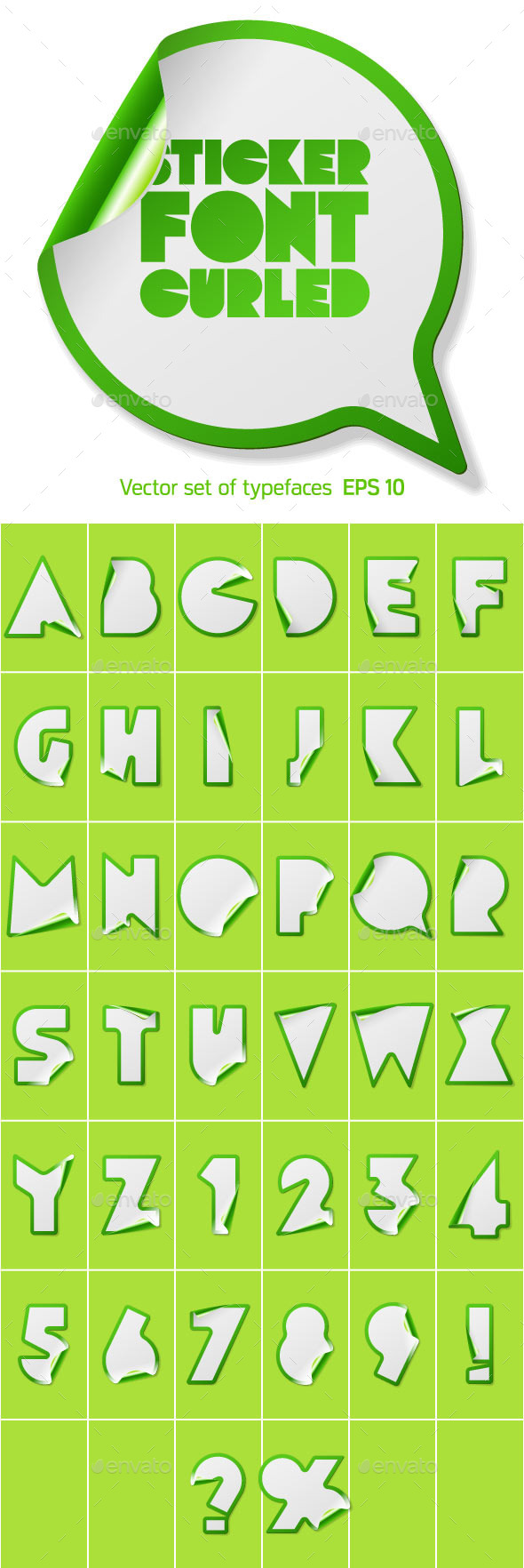 GraphicRiver Alphabet in the Form of Stickers 10064075