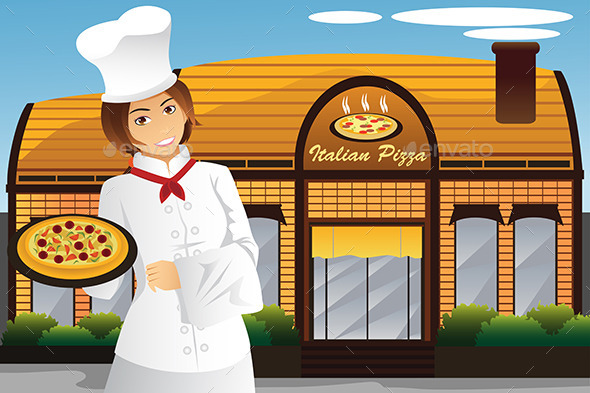 GraphicRiver Waitress Holding Pizza 10064097