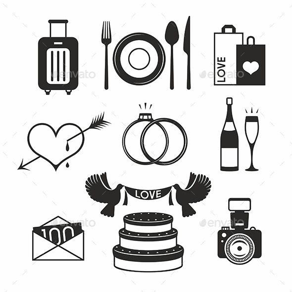 GraphicRiver Wedding Set Icon 10064365