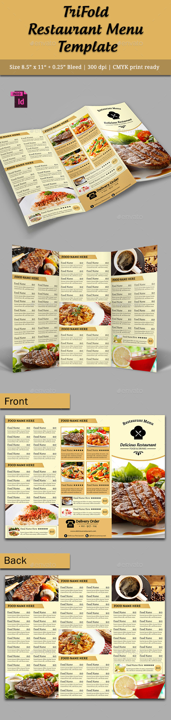 GraphicRiver TriFold Restaurant Menu Template Vol 5 10064385