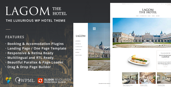 ThemeForest Lagom Hotel The Luxurious Wordpress Hotel Theme 9976447