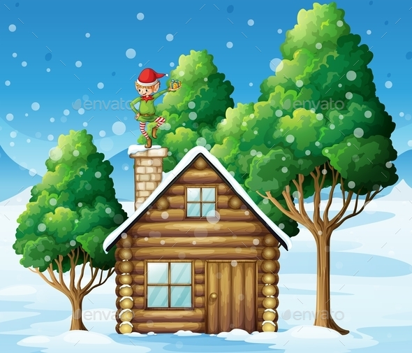 GraphicRiver Wooden House with Elf On the Roof 10064628