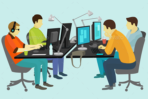 GraphicRiver People Working at the Desk 10064958