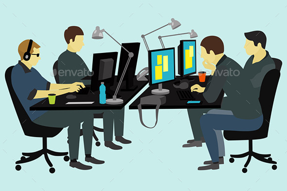 GraphicRiver People Working at the Desk 10064984