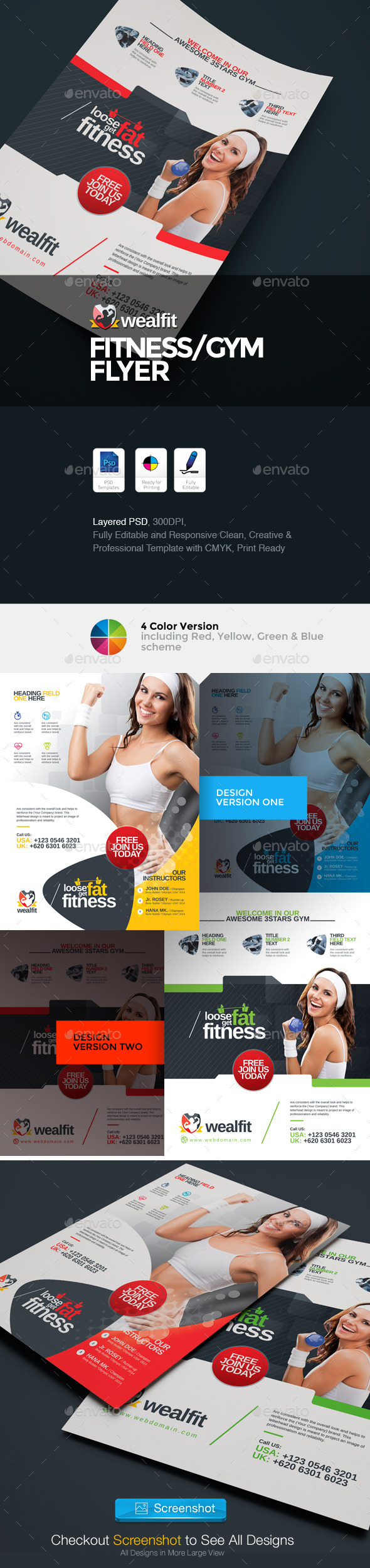 GraphicRiver WealFit Fitness Gym Flyer 10065074