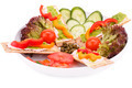 Crackers with fresh vegetables and cheese - PhotoDune Item for Sale