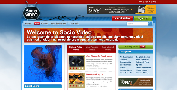 ThemeForest Socio Video Theme 42042