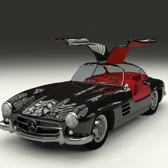 Rigged Mercedes 300SL Gullwing with Interior - 3DOcean Item for Sale