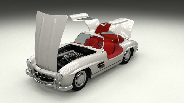 3DOcean Fully Modelled Rigged Mercedes 300SL Gullwing 10066191