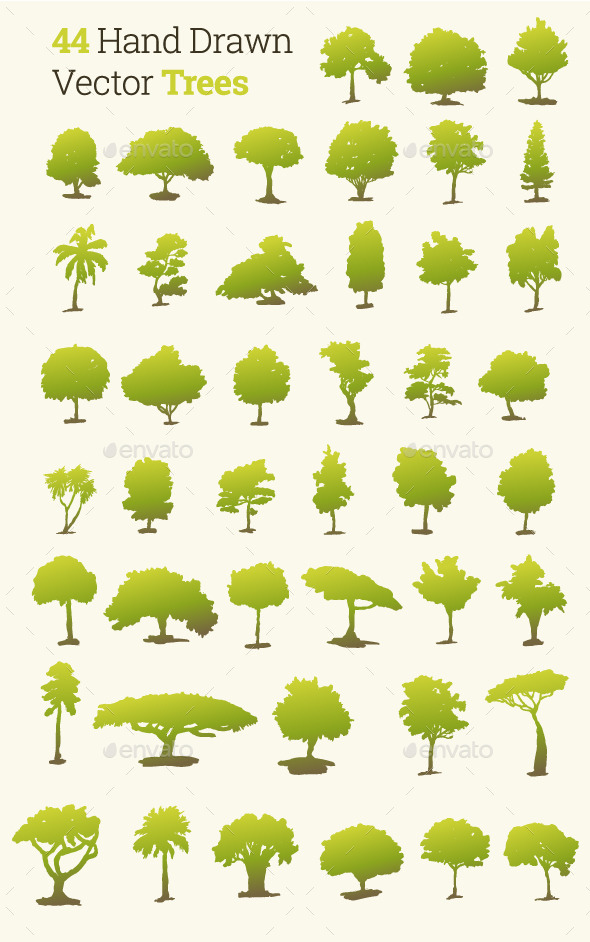 GraphicRiver 44 Hand Drawn Vector Trees 10066248