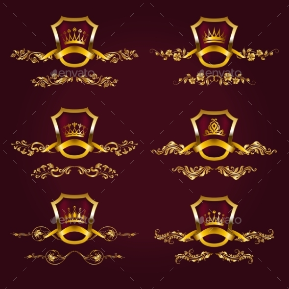 GraphicRiver Gold Labels with Laurel Wreath 10066256
