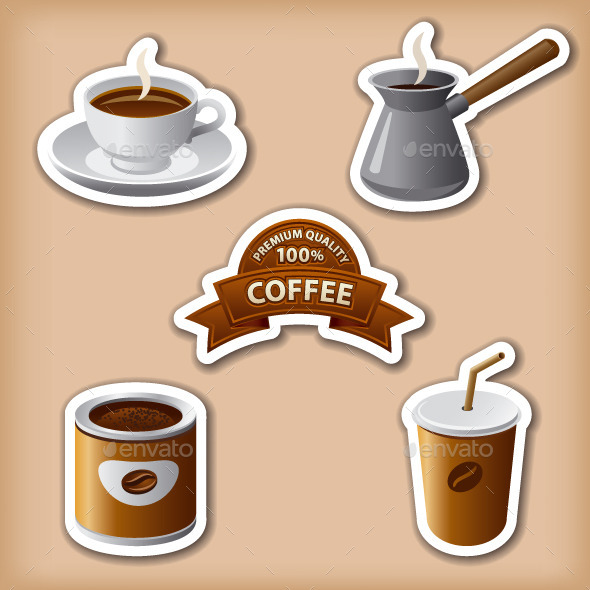 GraphicRiver Coffee Stickers 10066483