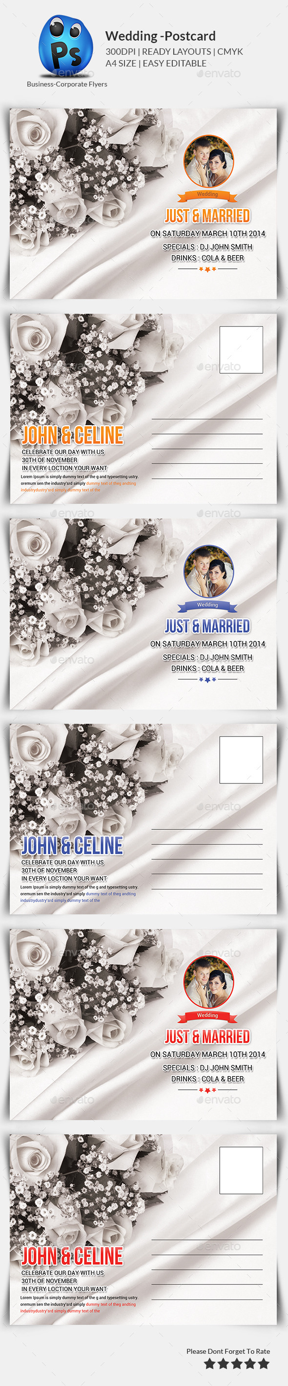 GraphicRiver Wedding Postcard Print Templates 10067126