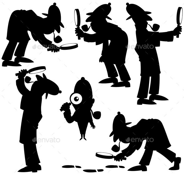GraphicRiver Detective Silhouettes 10067134