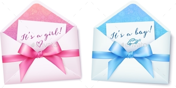 GraphicRiver Pink and Blue Baby Shower Envelops with Bows 10067421