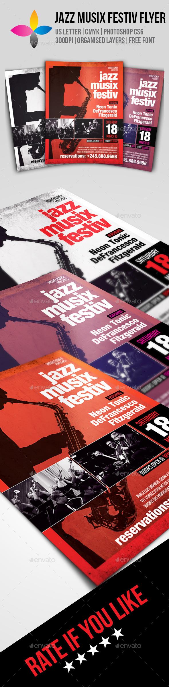 GraphicRiver Jazz Musix Festiv Flyer 10067422