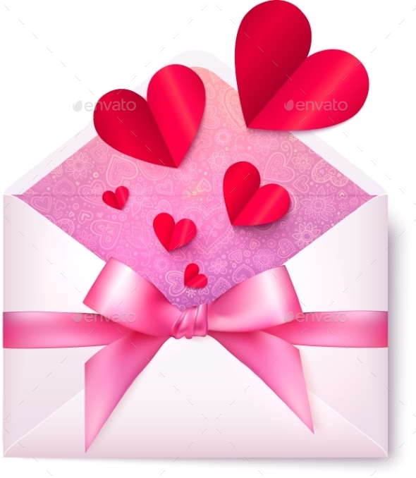 GraphicRiver Pink Paper Envelope with Red Hearts and Bow 10067436