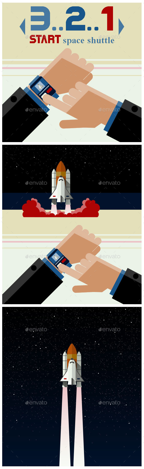 GraphicRiver Illustration of Smart Watch and the Space Shuttle 10042640