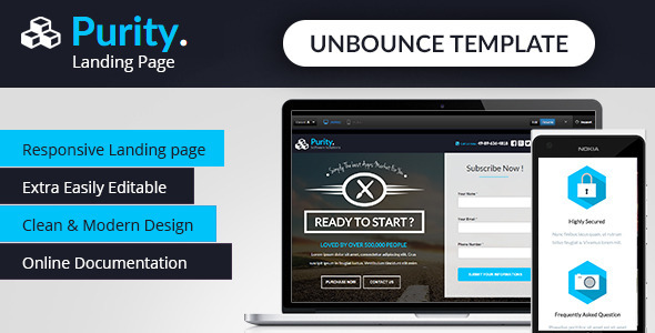 ThemeForest Purity Unbounce App Landing Page 9998919
