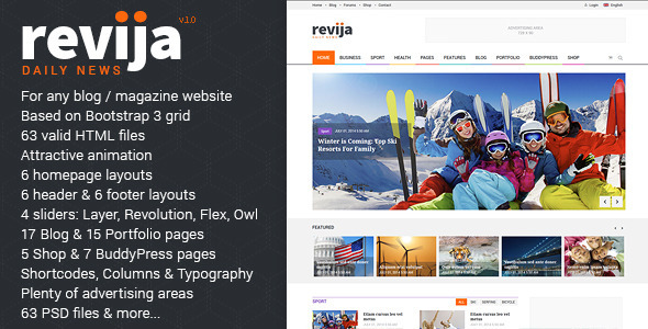 ThemeForest Revija Premium Blog Magazine HTML Template 10019466