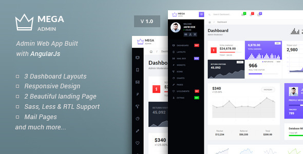 ThemeForest Mega Bootstrap Admin Web App with AngularJs 10011056