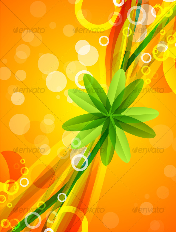 Abstract leaf star on orange background - Backgrounds Decorative