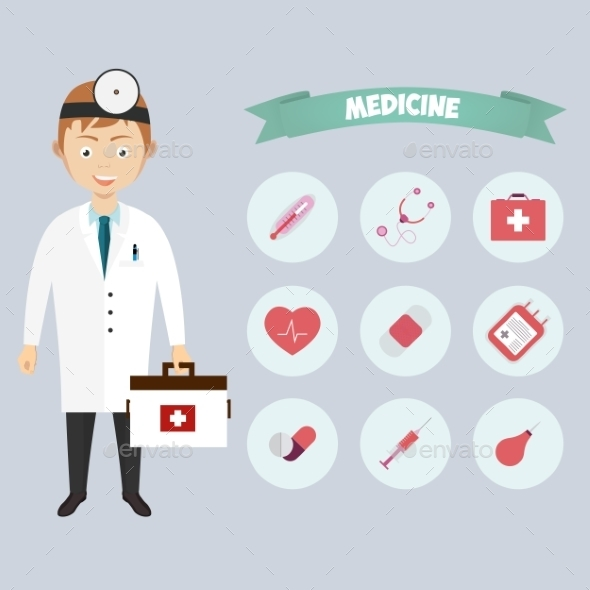 GraphicRiver Smiling Happy Male Doctor with Icons 10068008
