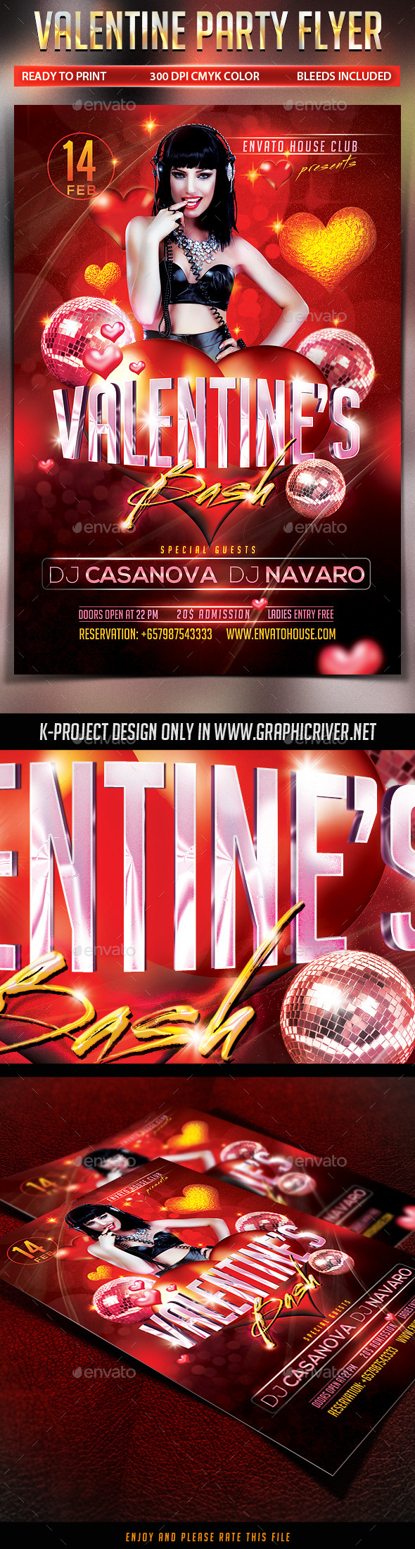 GraphicRiver Valentine Party Flyer 10050369