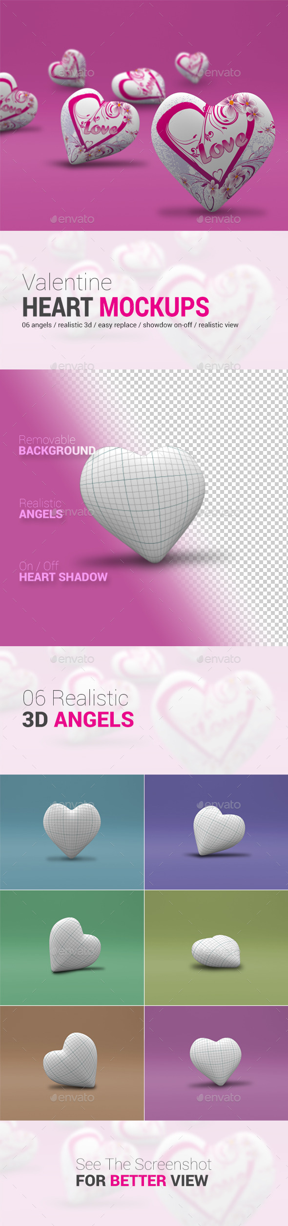 GraphicRiver Valentine s Heart 3D Mock-Up 10025504