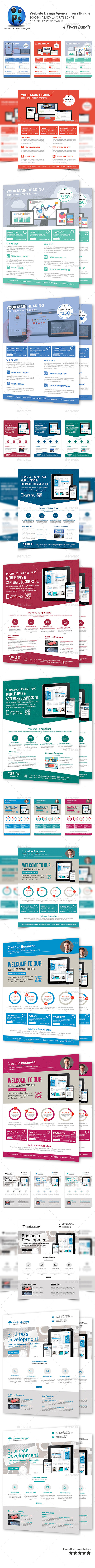 GraphicRiver Website Design Agency 4 Flyer Bundle 10068197
