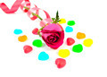 red rose with colorful heart shape jelly candy  - PhotoDune Item for Sale