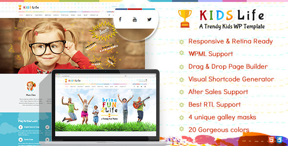 ThemeForest Kids Life Kindergarten WordPress Theme 10068328