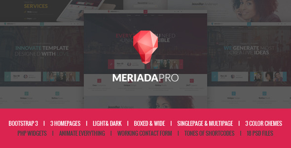 ThemeForest Meriada Pro Responsive Corporate HTML Template 10014434